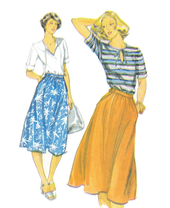 Vintage 1970s Butterick Misses Cuff Sleeve Shirt and Skirt Sewing Pattern 5441