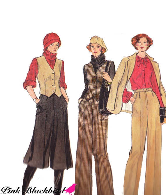 70s Culottes Pattern/ 70s Jacket Pattern/  Vintage Vogue UNCUT 70s Misses Culottes, Vest, Jacket, Pants and Skirt Sewing Pattern 9661