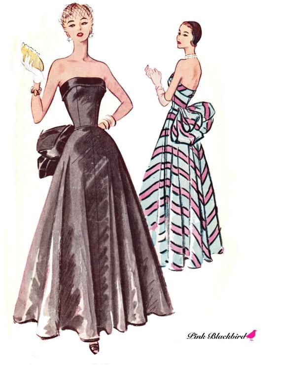 50s Wedding Dress Patterns 50s Evening Dress Pattern/ 50s