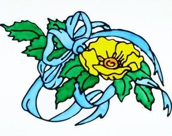 Yellow rose window cling, blue ribbon