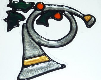 Silver french horn christmas window cling