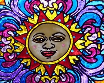 Sun Face mandala window cling