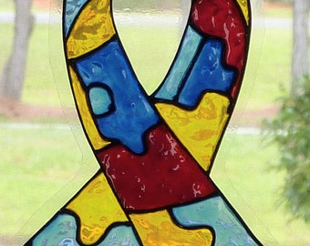 Awareness ribbon-Autism window cling, suncatcher, faux stained glass, decal