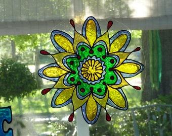 Star mandala window cling
