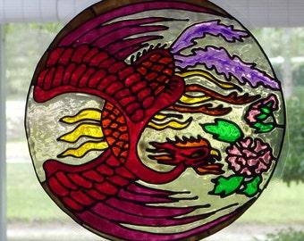 Red Phoenix mandala window cling