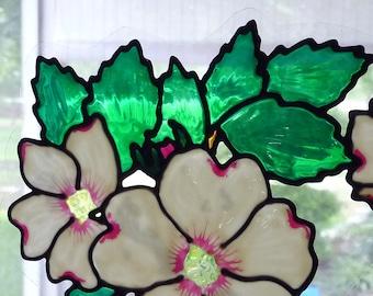 Corner flower window clings-dogwood