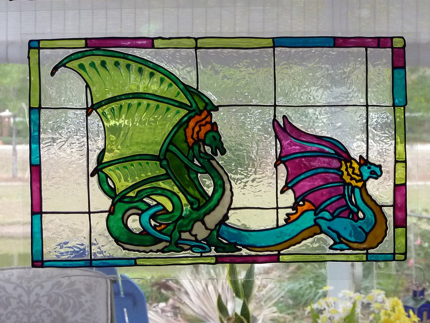carousel bench with 2 dragons window cling stained glass look. Black Bedroom Furniture Sets. Home Design Ideas