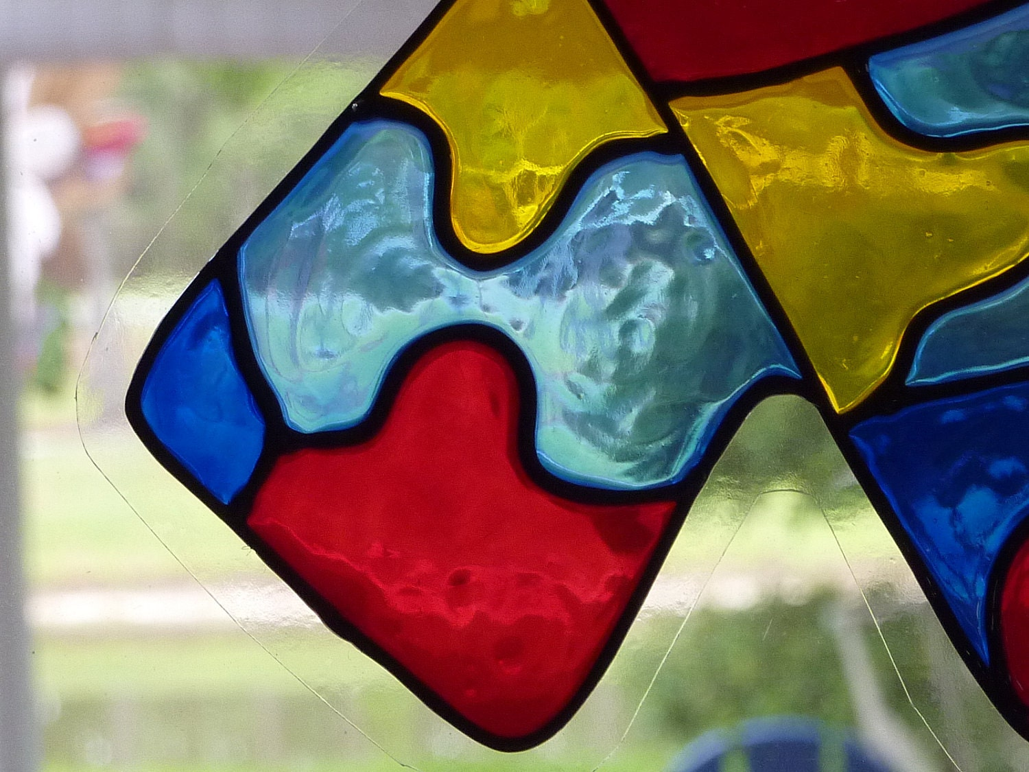 Awareness Ribbon Autism Window Cling Suncatcher Faux Stained
