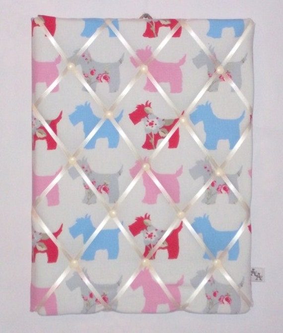 Pink Scotty Dog Memo Board, Office, Study, Student, Cards, Fabric, Home Decor, Handmade, Home, Home and Garden, Free Postage