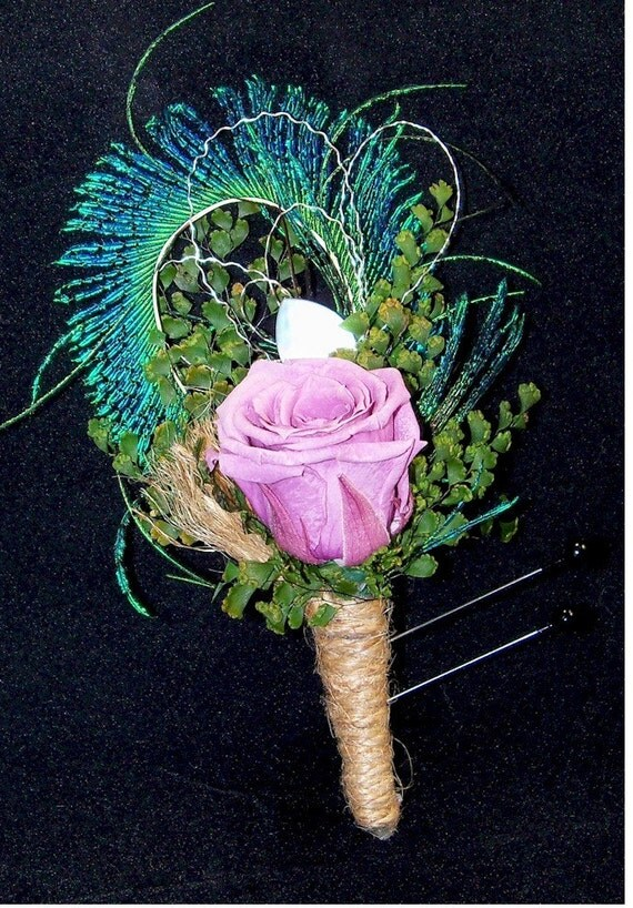 Peacock Sword Boutonniere