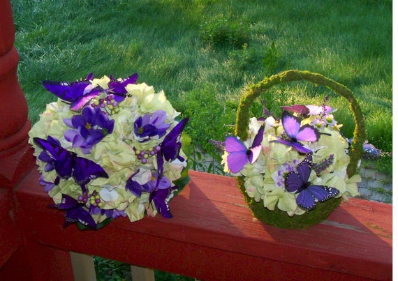Bridal Butterfly Bouquet and Flowergirl Basket