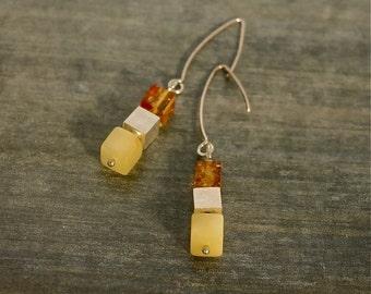 amber cubes earrings