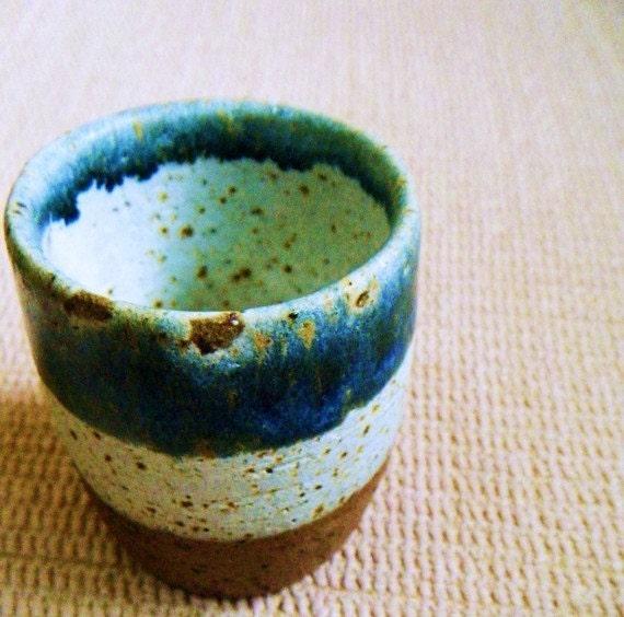 Handmade Japanese teacup blue