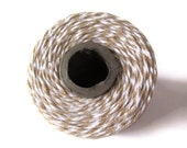 Kraft Brown Bakers Twine - Flax & White Striped Twinery - Scrapbooking - Invitation Wrapping String - Crafts - Packaging 240 Yard Full Spool