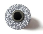 Bakers Twine - Stone Gray & White Striped Twinery - Scrapbooking - DIY Invitation - Crafting - Gift Wrap - 240 Yard Full Spool String - Grey