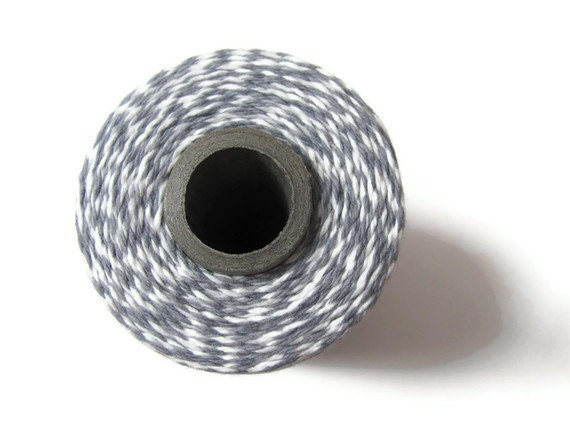 Gray Bakers Twine - Stone & White Striped Twinery - Scrapbooking - DIY Invitation Wrapping String - Craft - 240 Yard Full Spool - Grey Twine