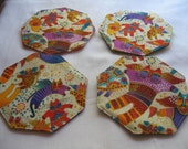 Laurel Burch Cat Angels Octagon Coasters, bright, fun, whimsical, cat, angel, gold, variation