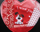I Woof You, Scrappy Red and Pink Heart Coaster for Valentine's Day, Free Shipping