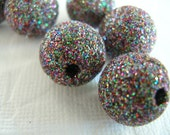 Retro Glitter Beads Grey Black Rainbow14 mm 10 pcs Kitsch