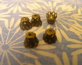 VINTAGE STYLE, Filigree Antique Brass plated Cone Bead caps 5mm x 6mm 20 pcs