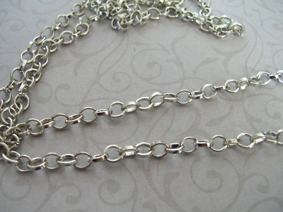 Vintage STYLE Jewelry chain footage Rhodium Plated Color LinK 5 x 6 mm 10 feet