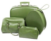 RESERVED FOR CRAZYBREAD Vintage Luggage Set of Four Olive Green Bags