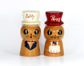 Vintage Salty Peppy Wooden Salt and Pepper Shakers LARGE