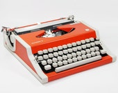 Bright Orange Olympiette Typewriter with Case