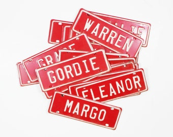 Vintage Name License Plate: Red and White Metal Bicycle Plates with Old Fashioned Names