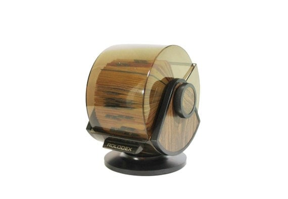 Vintage Rolodex Card File: Round Swivel Base with Woodgrain Sides
