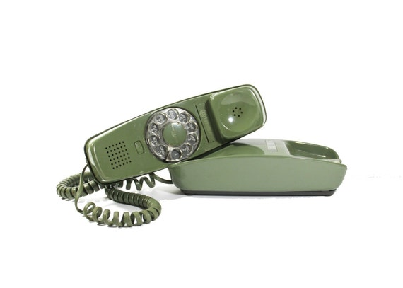 Vintage Trimline Rotary Telephone: Sage Green
