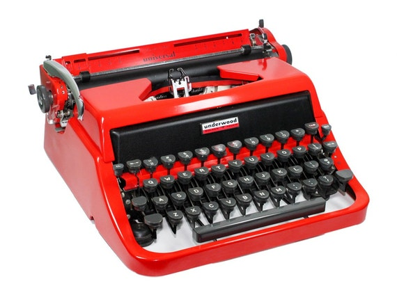 Red Underwood Typewriter in Original Case with Manual