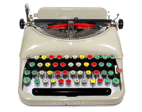 Remington Rand 5 Manual Typewriter With Colored Keys