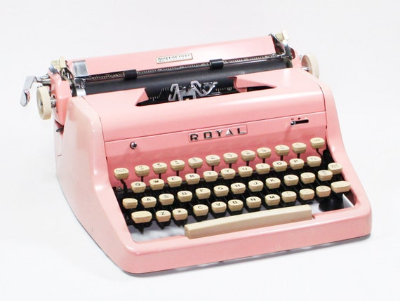 Pink Royal Quiet DeLuxe Manual Typewriter in the Original Case