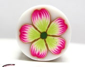 Polymer clay cane Pink green flower