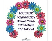 Polymer Clay PDF tutorial - The TRICOLOR Flower Cane