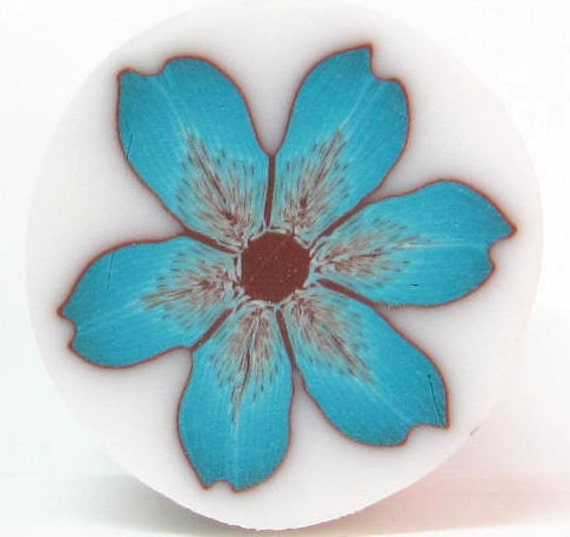 Polymer Clay flower cane - Teal Turquoise Brown