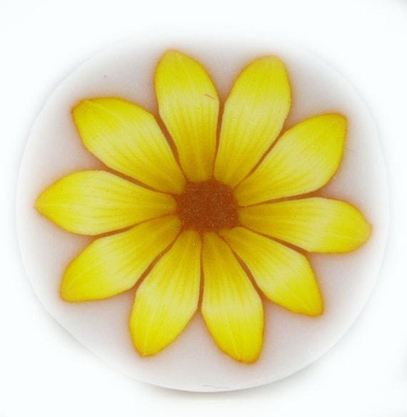 Yellow polymer clay Millefiori Flower Cane