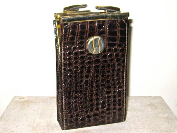 Leather Cigarette Case by Lady Bosca or Business Card Holder  Or Tampon Holder 1970s or 1980s