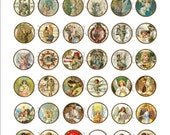 INSTANT Download / Christmas Angels One Inch Round DIGITAL IMAGES / Sidetracked Artist Collage Sheet No.159