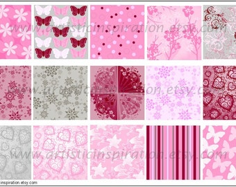 INSTANT DOWNLOAD Pink and Gray 1 inch Squares DIGITAL Images / Sidetracked Artist Collage Sheet No.116