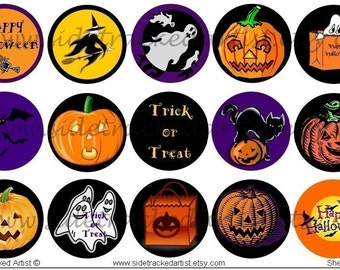 INSTANT Download / Halloween 1 x 1 inch round DIGITAL IMAGES for bottlecaps, magnets, stickers / Sidetracked Artist Collage Sheet No. 127