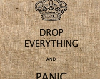 Instant Download / DROP EVERYTHING and PANIC Digital Image Transfer No.167 for pillows, tote bags, t-shirts, tea towels