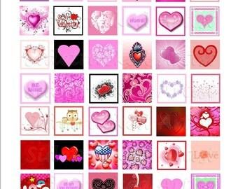 INSTANT Download Valentine 1 inch squares DIGITAL IMAGES / Sidetracked Artist No. 184