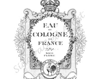 INSTANT Download Vintage French Perfume Label / DIGiTAL IMAGE Transfer for tea towels, t-shirts, tote bags, pillows Image No. 186