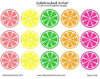 INSTANT Download / Citrus Slices in Pink, Orange, Yellow and Green 2 inch round DIGITAL IMAGES Collage Sheet No. 196