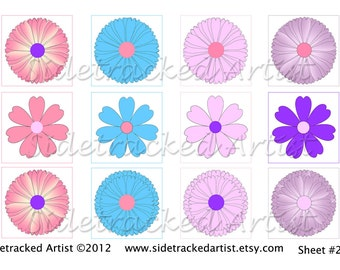 INSTANT Download / Spring Flowers one inch square DIGITAL IMAGES / No. 238