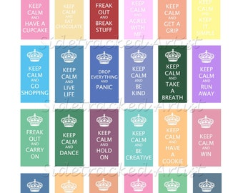 Instant Download / KEEP CALM assorted messages on 1 x 2 inch pastel DIGITAL images / No.251