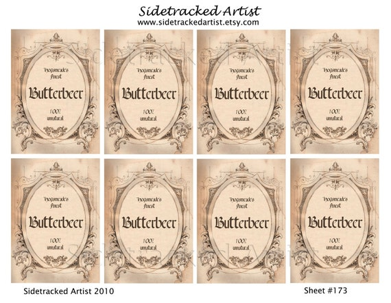 INSTANT DOWNLOAD / Butterbeer Label Hang Tags DIGITAL Images / Sidetracked Artist No.173 from ...