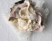 Fabric Bouquet Brooch in Cream and Vintage Pink